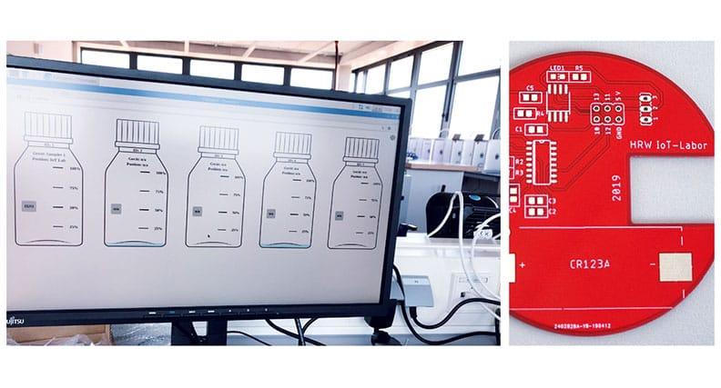 Aufbau eines Prototyps eines Sensors zur Füllstandskontrolle.