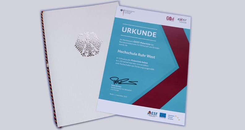 Urkunde der Hochschule Ruhr-West des Wettbewerbs EXIST-Potentiale