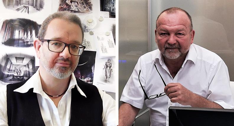 Prof. Dr. Michael Heinrich (links) und Prof. Rudolf Schricker (rechts) im Homeoffice.