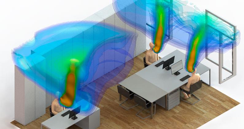Simulation eines typischen Dreierbüros in der Gießener Kreisverwaltung: Schon nach zwei Minuten macht bereits ausgeatmete Luft einen großen Teil des Rauminhaltes aus.