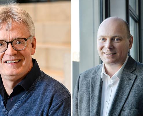Professor Bamberg und Professor Seelmeyer von der FH Bielefeld.