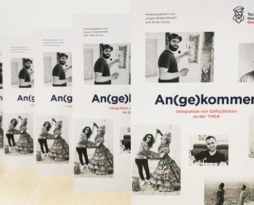 """Das Buch """"An(ge)kommen. Integration von Geflüchteten an der THGA"""" erzählt, wie Teilnehmerinnen und Teilnehmer des THGA-Programms für Menschen mit Fluchterfahrung die verschiedenen Angebote erlebt haben und welche Wege sie gegangen sind."""
