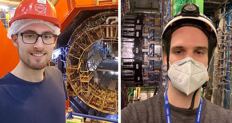 Florian Rehm schoss für uns ein Selfie am ALICE Detektor vom LHC am CERN und Don Winter bei einer Führung am CMS Experiment.