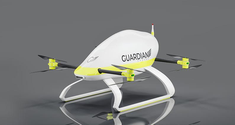 Die Outdoor-Drohne, die im Projekt entwickelt wird, soll in wenigen Sekunden bei einer in Not geratenen Person ein Auftriebsmittel - zum Beispiel einen Rettungsring - herablassen können.