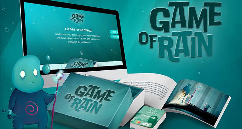 Game of Rain ist gedacht als Mix aus Kartenspiel, Storybuch, Webseite und Community.