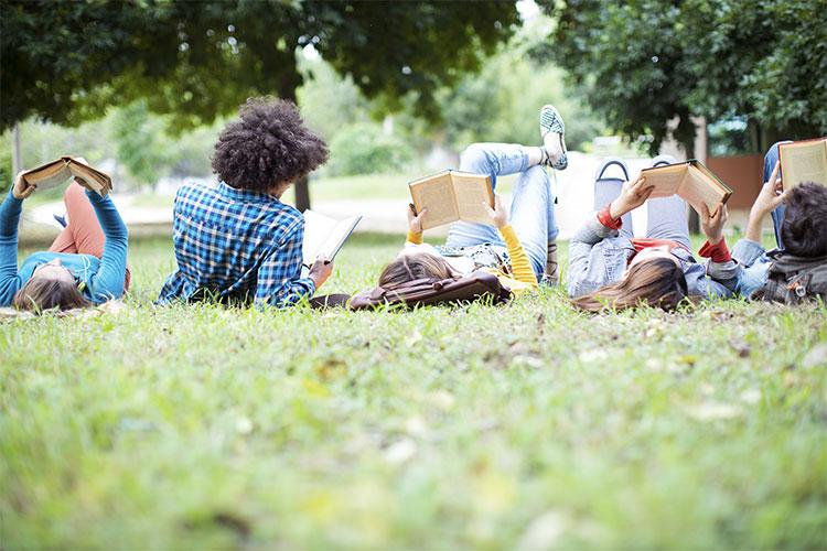 Studierende beim Lernen auf einer Wiese.